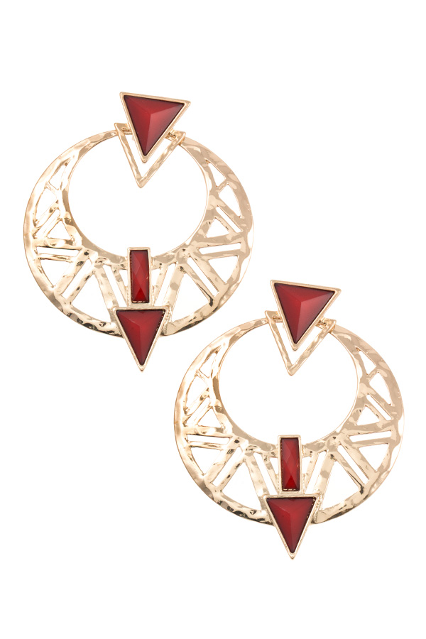 GEOMETRICAL CUT ROUND GEM ACCENT EARRING