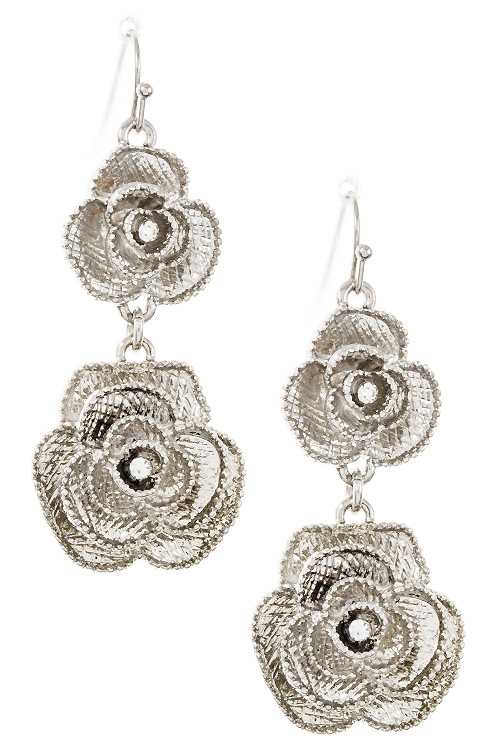 Textured Double Link Rose Detailed Dangle Earring