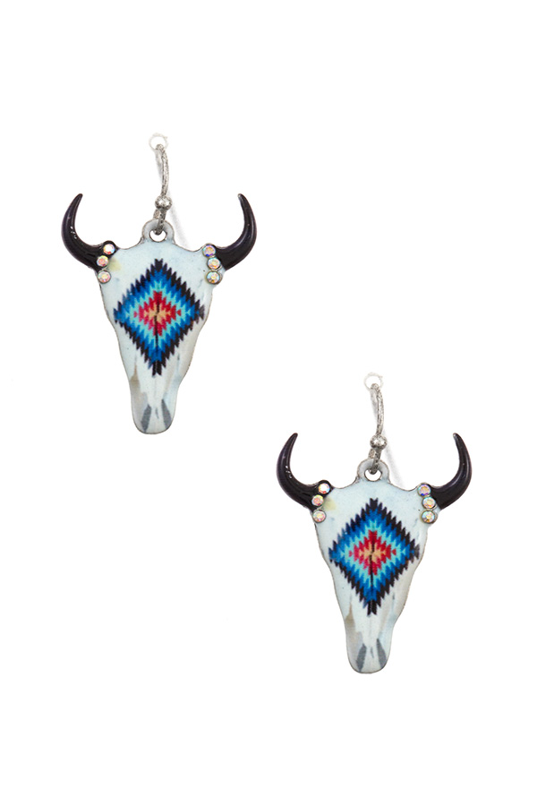 DIAMOND TRIBAL PATTERN DANGLE EARRING