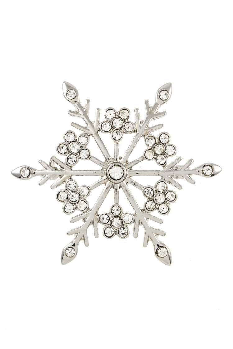Rhinestone Pave Accent Snowflake Brooch