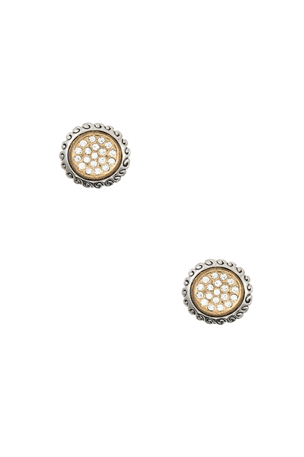 TWO TONE RHINESTONE PAVE ROUND POST EARRING