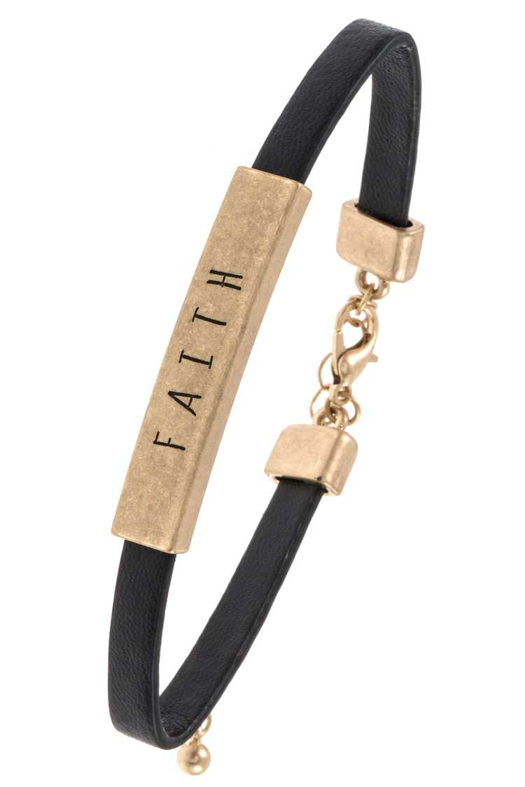 FAITH Bar Accent Faux Leather Bracelet