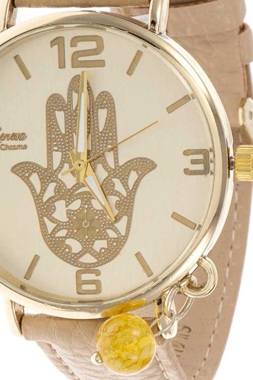 hamsa hand template face accent faux leather watch