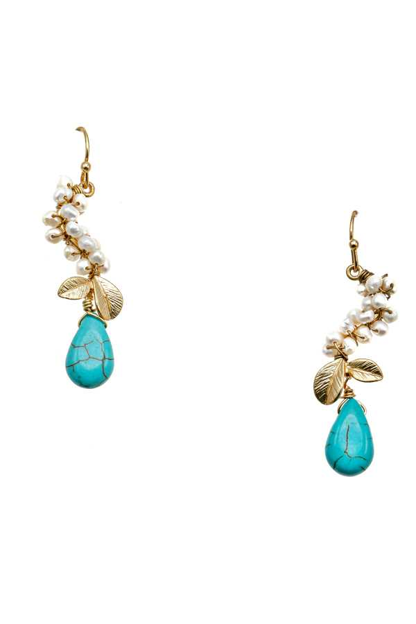 GEM AND PEARL HOOK EARRING