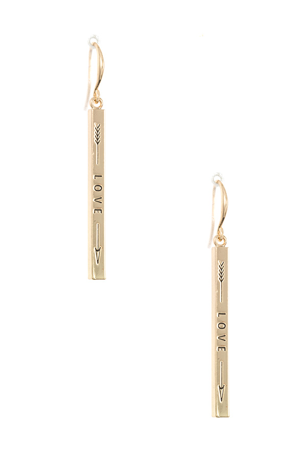 LOVE ETCHED BAR DANGLE EARRING