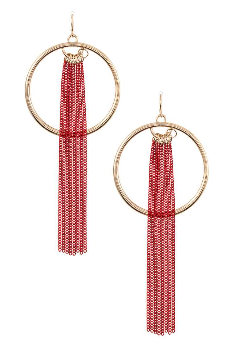 Round Hoop Link Chain Tassel Dangle Earring