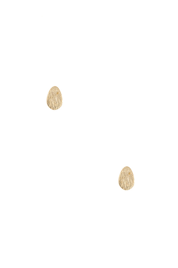 SCRATCHED EGG SHAPE POST EARRING