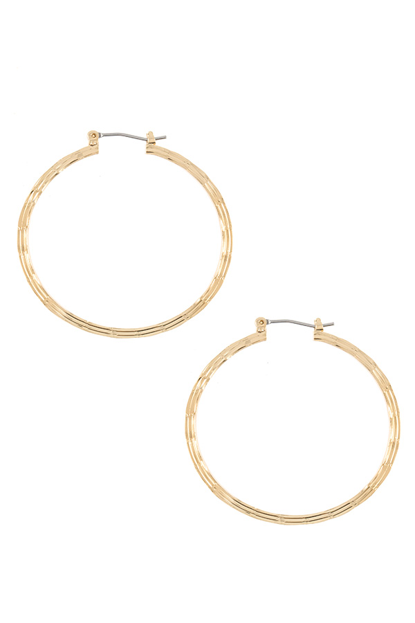 Line Detailed Mini Hoop Earring