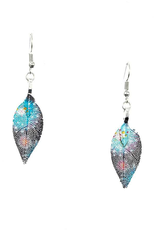 MULTI COLOR LEAF DROP EARRING
