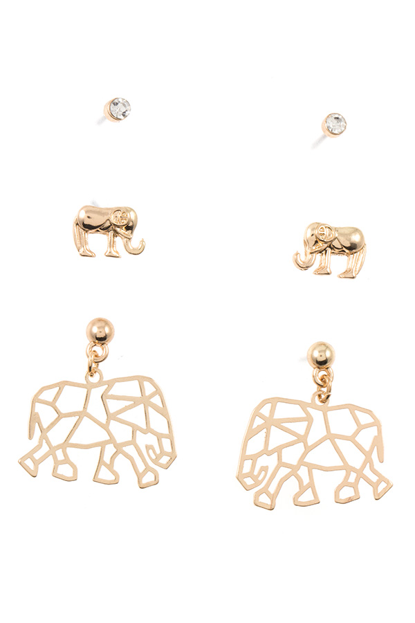 ELEPHANT MIX POST EARRING SET