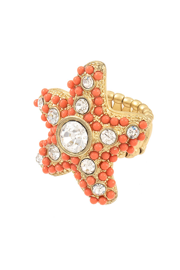 BEADED GEM STARFISH RING