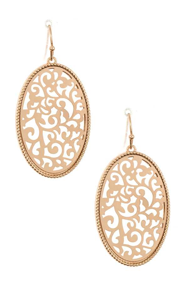 Oval Filigree Drop Detailed Earring