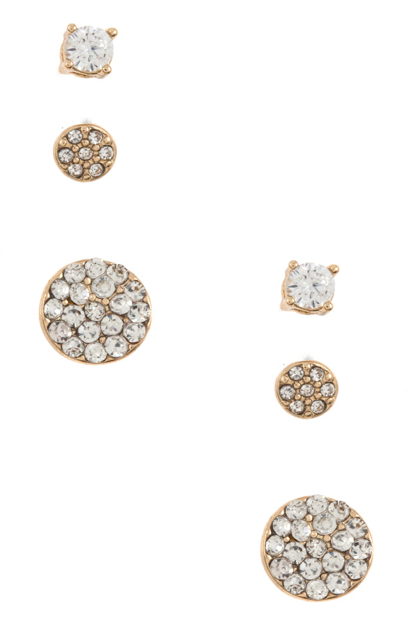 CZ Stone Round Post Earring Set