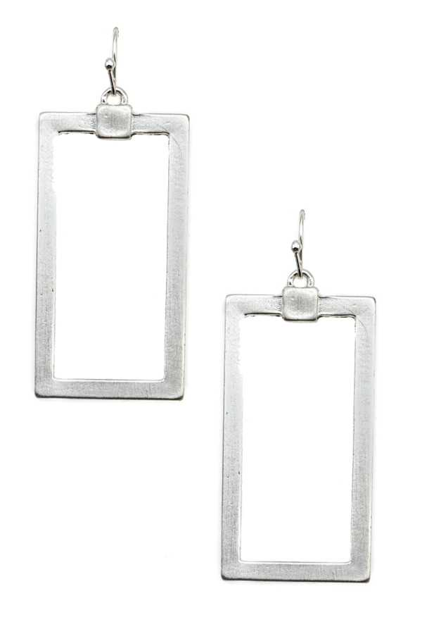 RECTANGULAR FRAME DANGLE EARRING
