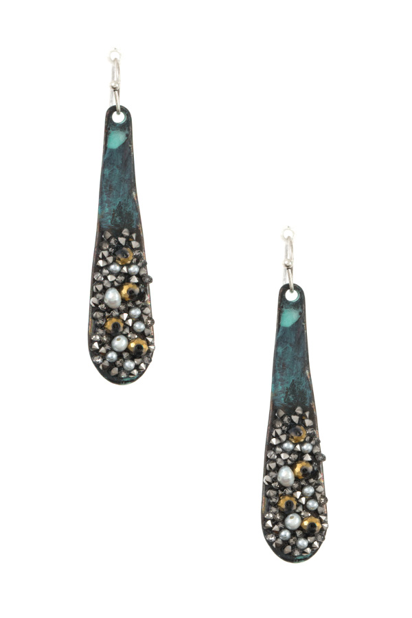 CLUSTER TIP GEM PADDLE DANGLE EARRING