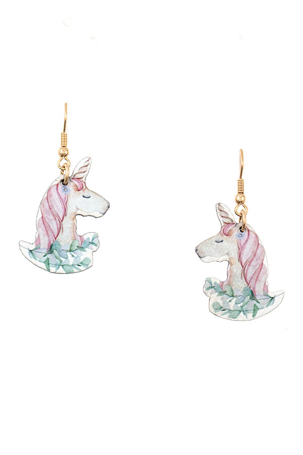 UNICORN HEAD DANGLE EARRING