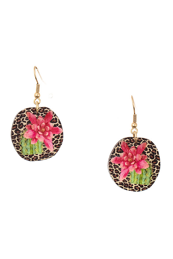 FLORAL ANIMAL PRINT EARRING