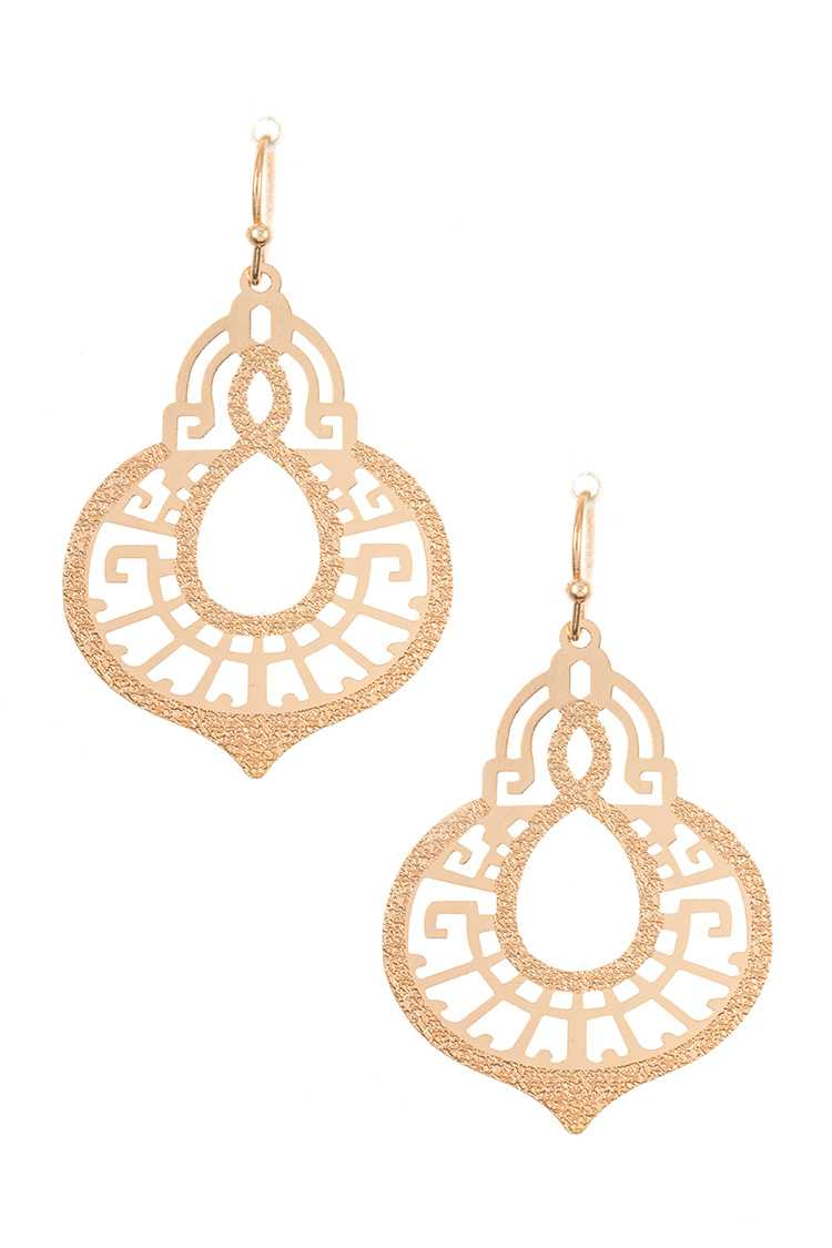 Textured Ornate Detailed Dangle Earring