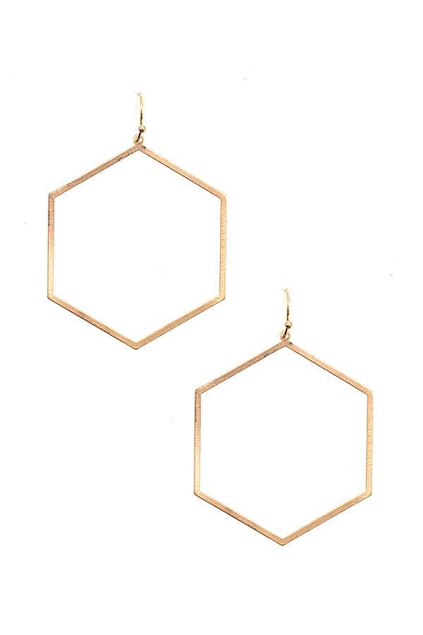 HEXAGON OUTLINE DROP EARRING