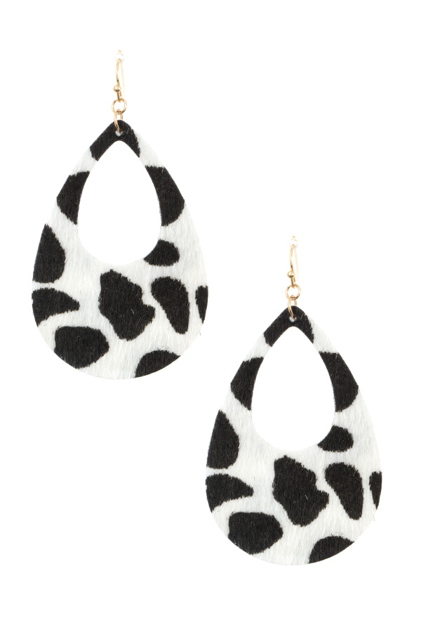 FAUX CALF HAIR TEARDROP CUT OUT EARRING