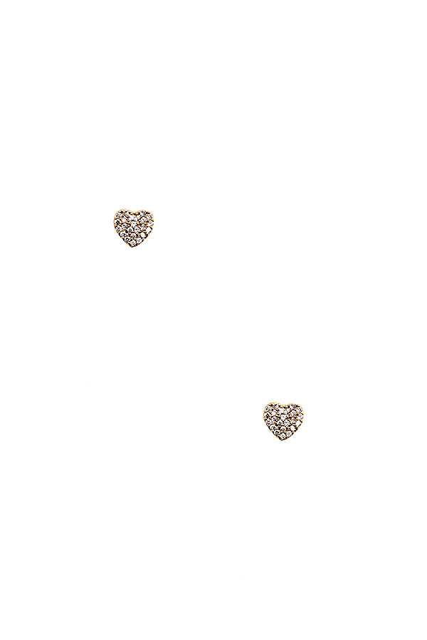 CZ STONE HEART POST EARRING