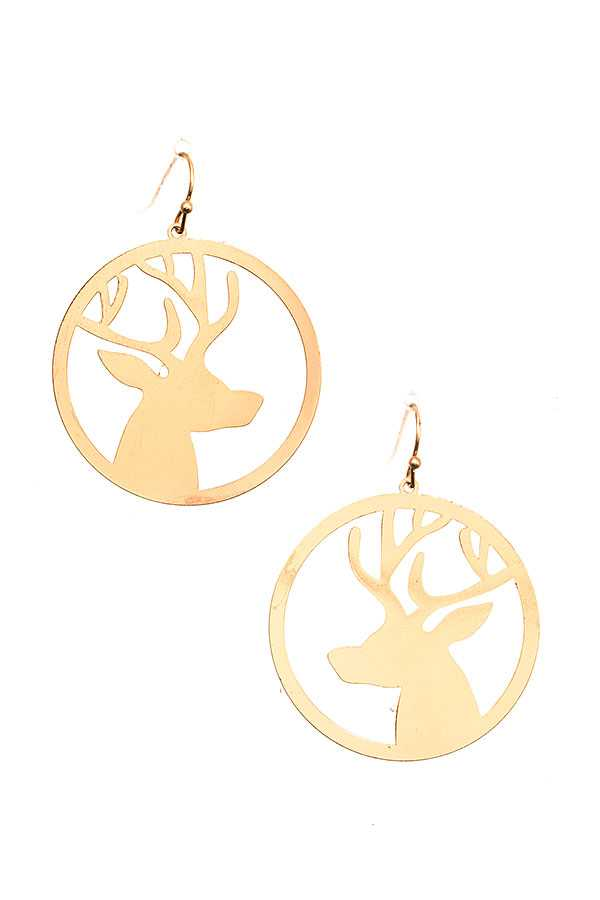 REINDEER CUT OUT DROP EARRING