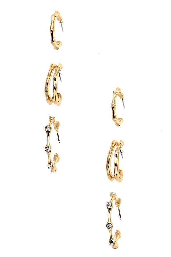BAMBOO ACCENT SEMI HOOP EARRING SET
