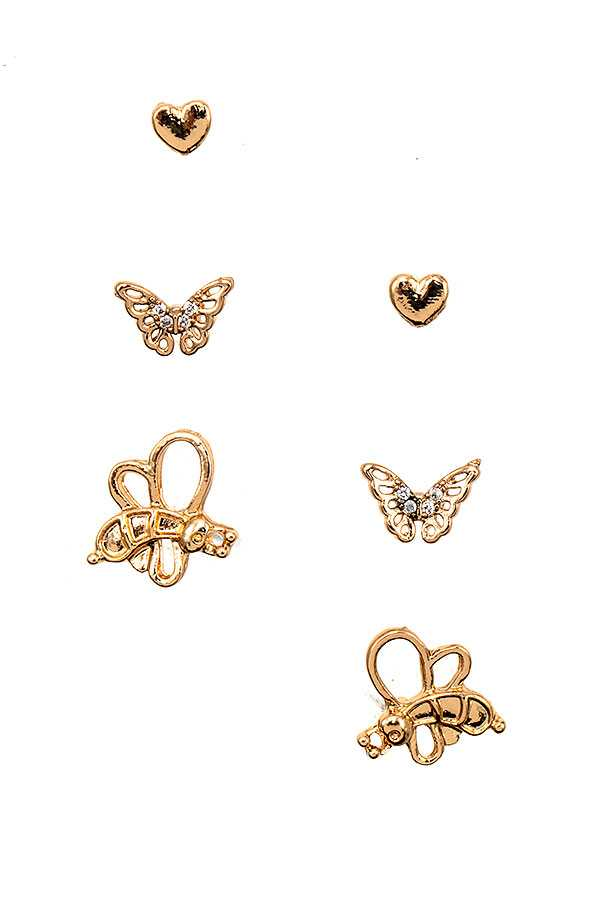 BEE BUTTERFLY MIX POST EARRING