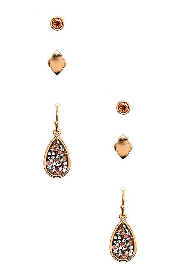 TEARDROP GEM ACCENT EARRING SET