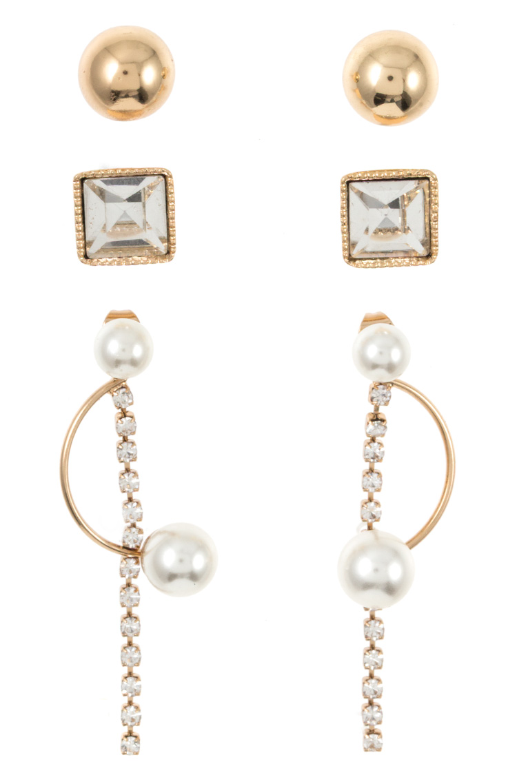 Mix Gem and Pearl Accent Post Earring Set