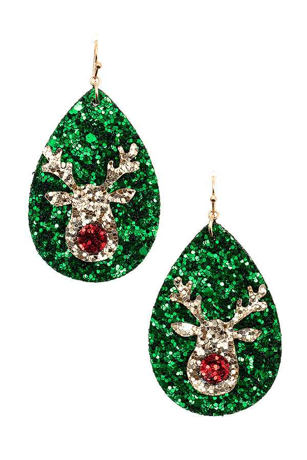 REINDEER SEQUIN TEARDROP EARRING