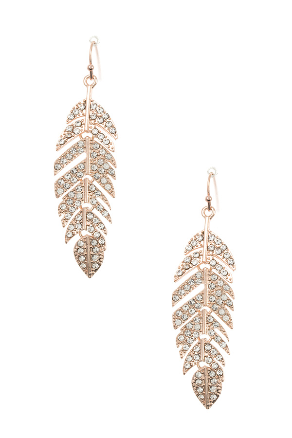 RHINESTONE PAVE LEAF DANGLE EARRING