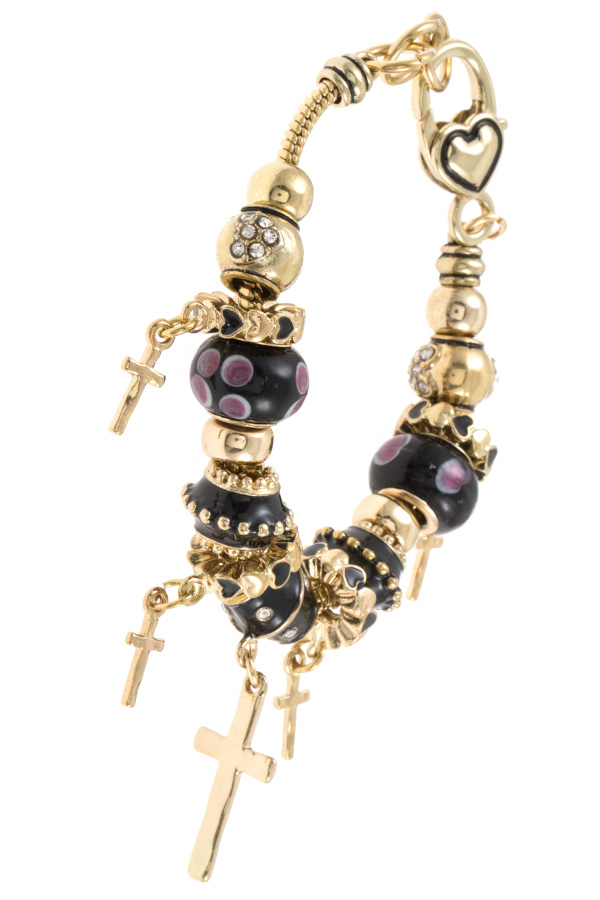MUTLI HAMMERED CROSS DANGLE BEAD BRACELET