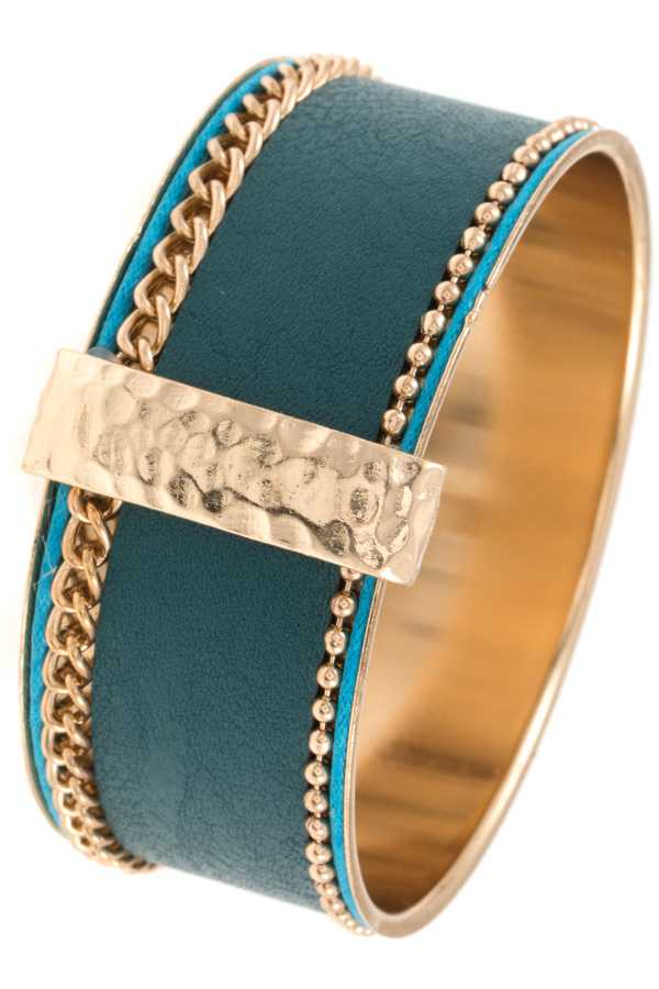 FAUX LEATHER WIDE BANGLE BRACELET