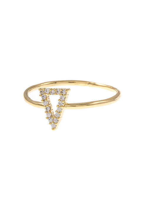 Triangle CZ Stone Pave Detailed Ring