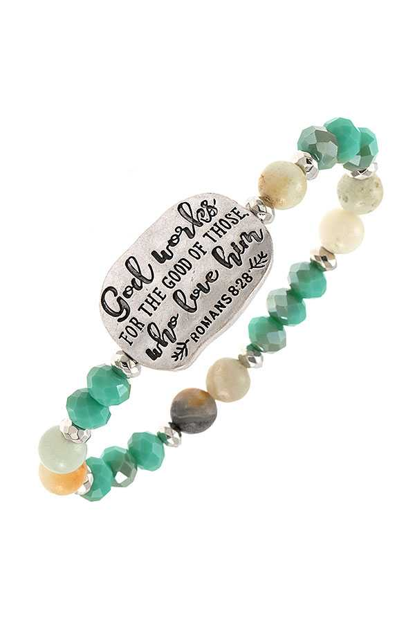 ROMANS 8:28 ETCHED BEAD BRACELET