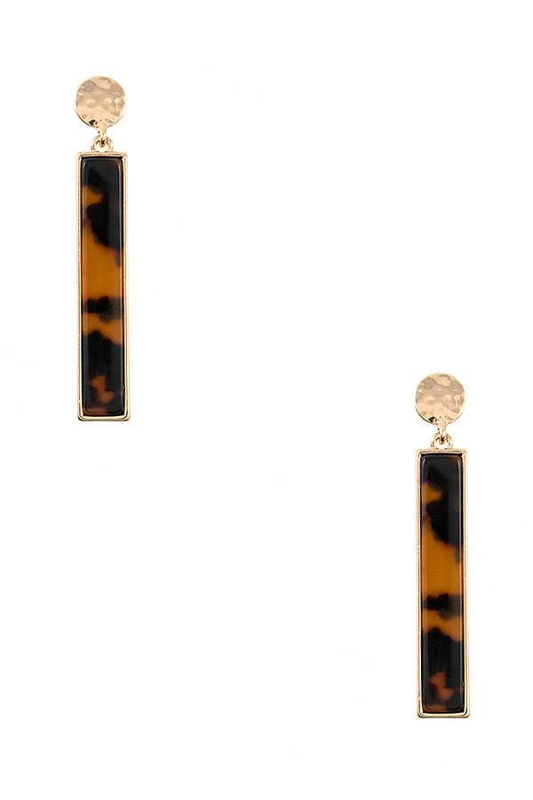 TORTOISE BAR DROPD DANGLE EARRING