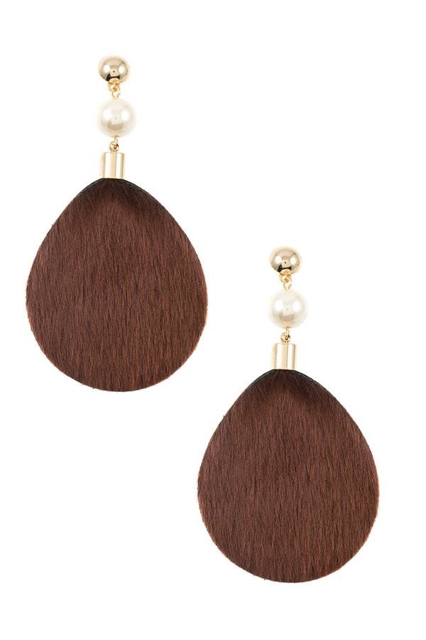 FAUX HAIR PEARL LINK DROP EARRING