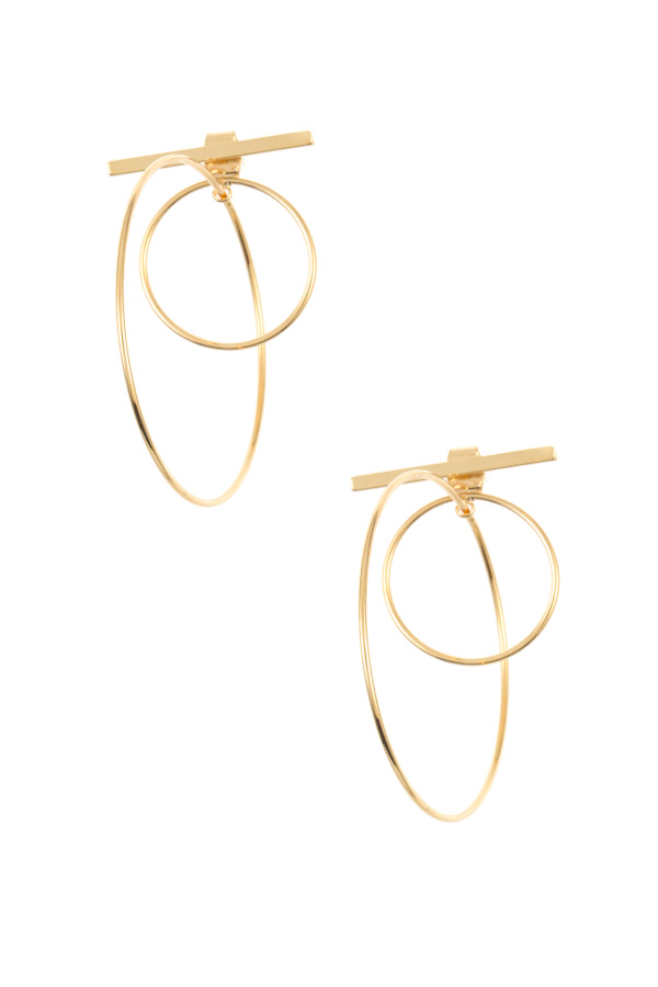 DOUBLE RING BAR ACCENT FASHION EARRING