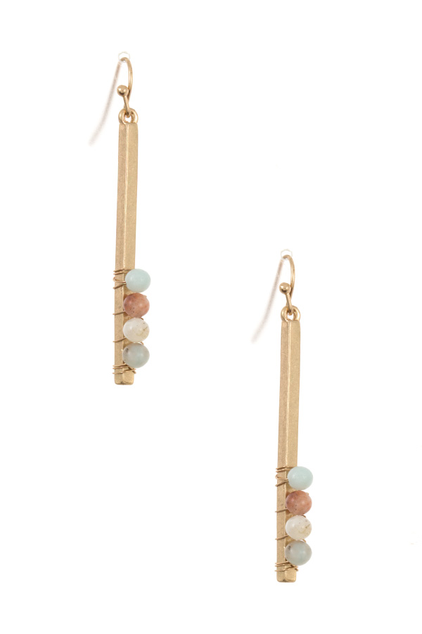 WIRED GEM BAR DROP DANGLE EARRING