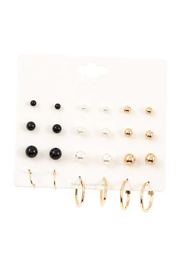 MIX STUD AND HOOP EARRING SET