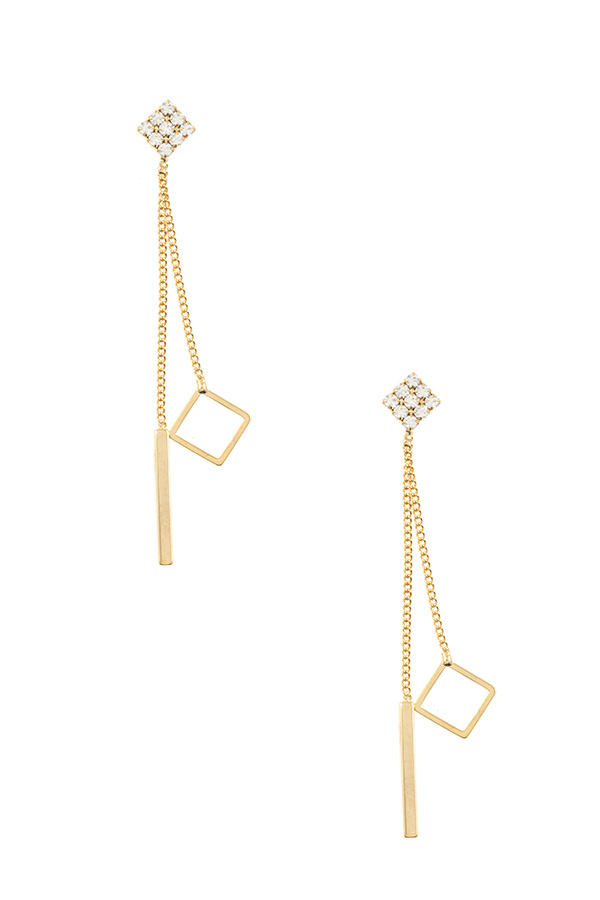 DIAMOND GEM PAVE CUT OUT CHAIN DROP EARRING