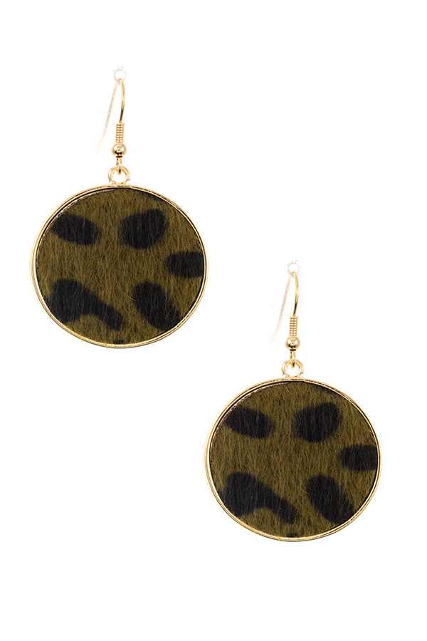 ROUND FAUX CALF HAIR DANGLE EARRING