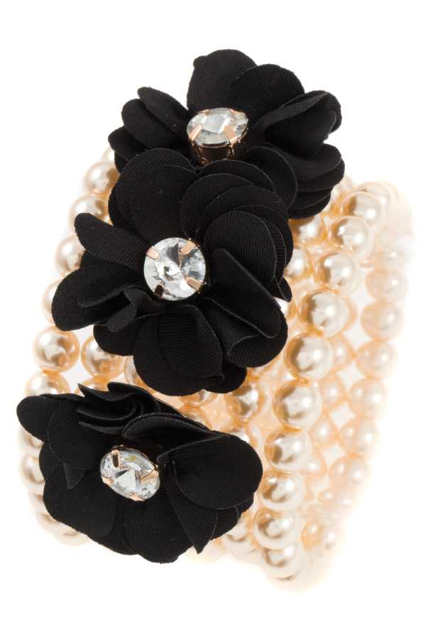 TRIPLE FLOWER PEARL SET BRACELET