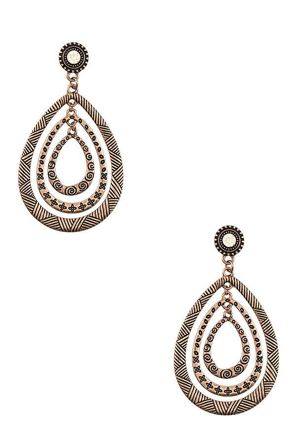 MULTI TEARDROP ETCHED DANGLE EARRING
