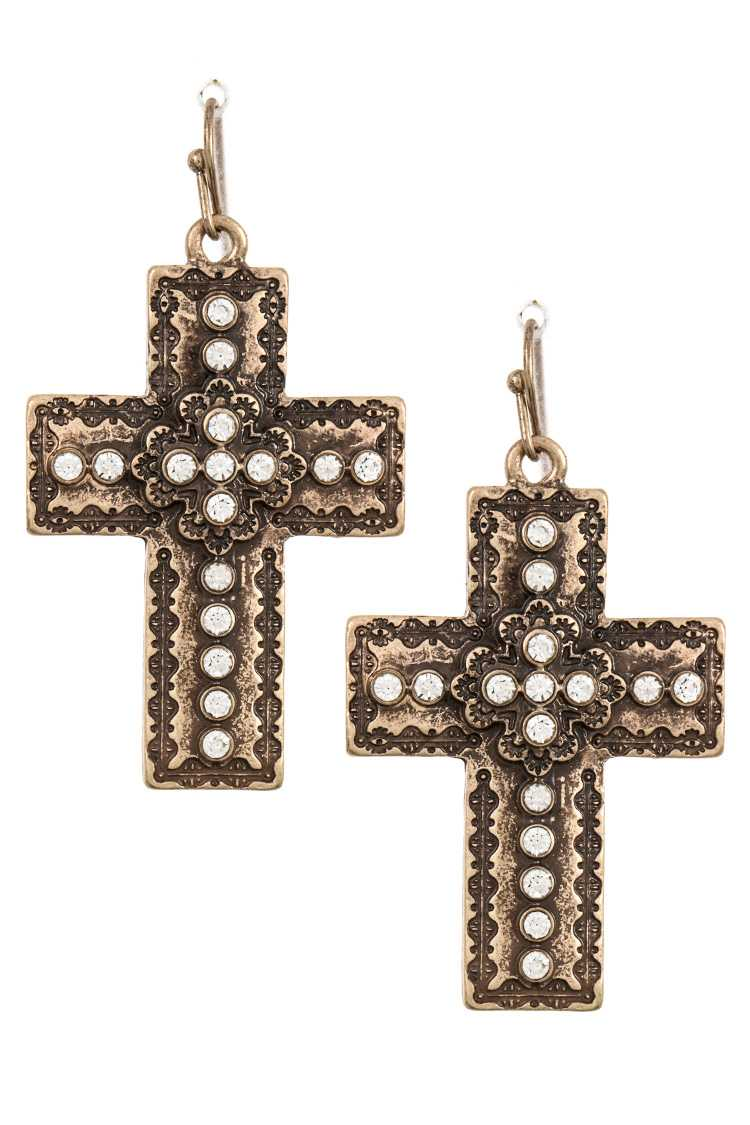 Gem Accent Cross Ornate Earring