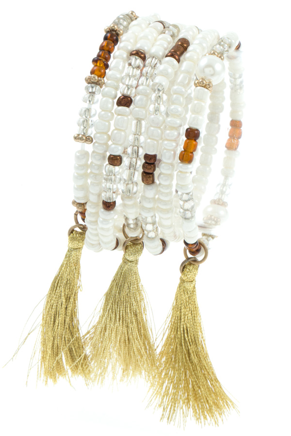 MULTI BEAD TASSEL DROP BRACELET