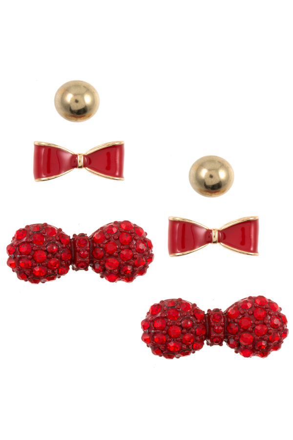 RHINESTONE AND ENAMEL BOW POST EARRING SET