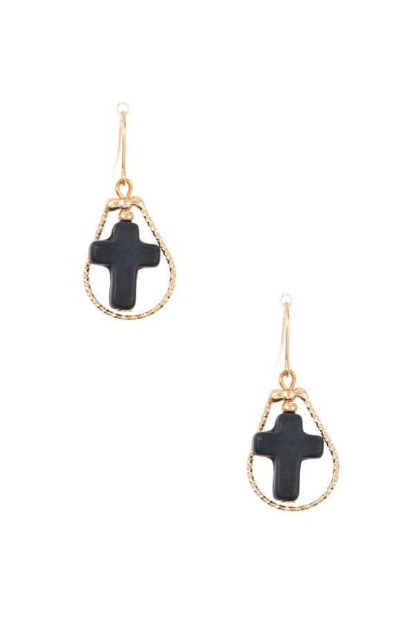 TEARDROP CROSS GEM DANGLE EARRING