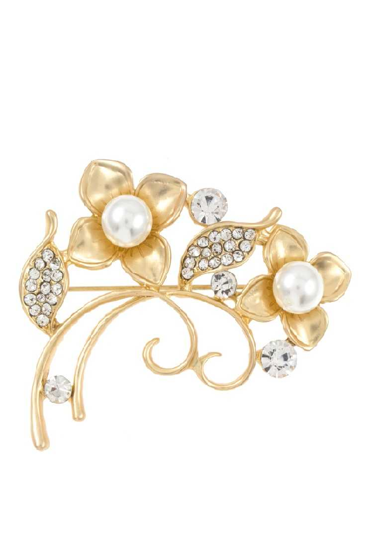 Rhinestone and Pearl Accent Floral Brooch